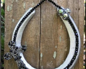 Lucky black sparkle Horseshoe cross Home wall Decor