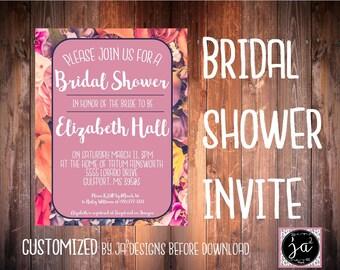 Customizable floral briday shower invitation/ floral bridal shower invitation/ floral/ bridal shower invitation