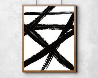 Black Brush Stroke, Abstract Printable Art, Modern Wall Art, Brush Prints, Black White Wall Art, Modern Wall Art, Minimal Brush Art,