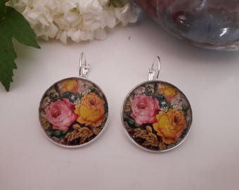 Silver Earring massive glass cabochon. Sterling silver earring glass cabochon.