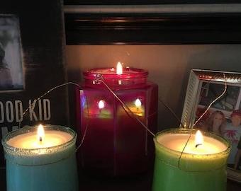 Iridescent Pink Jar Candle