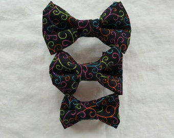 Pet Bow Tie - Black and Bright Swirls