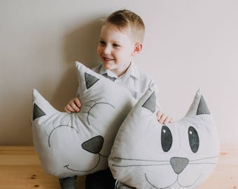 Decorative Cat Pillow GREY