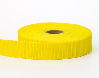 "Polypropylene webbing, 1"" Wide, 10 yds, Yellow"