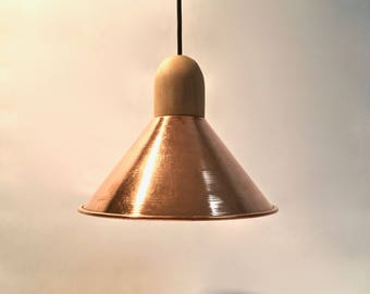 suspension lamp in copper and wood