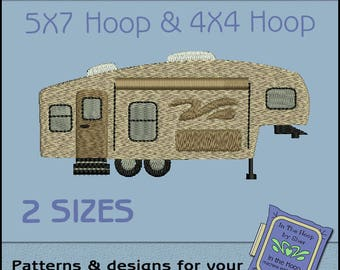 Fifth Wheel Camper Machine Embroidery Design - Camping Embroidery File - Filled Stitches