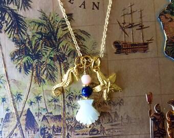 starfish ukulele charm necklace with seahorse #36