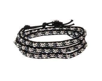 Glass Pearl & Hematite Wrap Bracelet