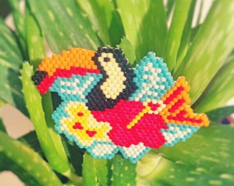 Toucan in Miyuki beads brooch