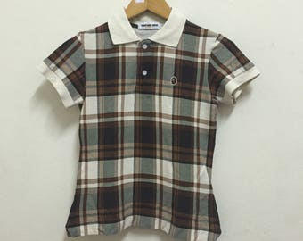 Bape Classic Plaid Collar T shirt for Ladies/Girls/Youth Gold Tag