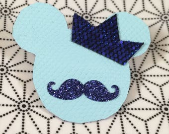 Turquoise Mickey mustache and Crown hair clip