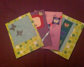 Set of 4 blank butterfly themed cards