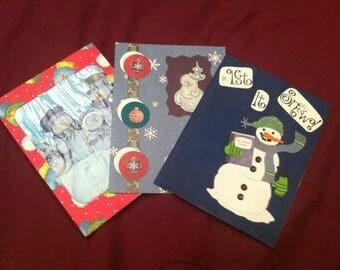 Set of 3 Snowman Christmas cards