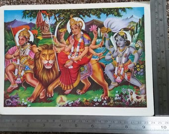 Vintage Hindu God Picture - Durga with Hanuman and Bhairav