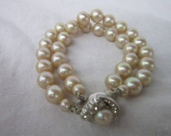 Antique Double Strand Fancy Glass Pearl Bracelet with Gorgeous Rhinestone Large Clasp