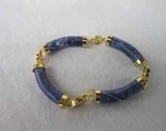 Vintage Oriental Style Gold Tone & Sodalite Fancy Bracelet Beautiful