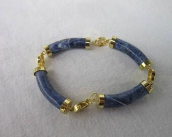 Vintage Oriental Style Gold Tone & Lapis Lazuli Fancy Bracelet Beautiful