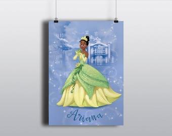 Tiana Custom Princess Portrait Illustration Art Poster Print - Wall Decor - Home Decor - Kids Decor - Nursery Art - Disney Princess