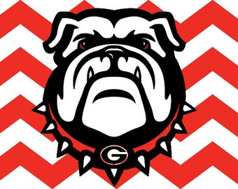 Georgia Bulldogs Chevron Vanity Automobile License Plate Car Tag