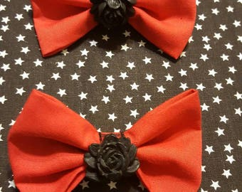 Red & Black Rose Hair Bows