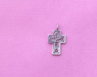 Sterling Silver Cross Charm Vintage Religious Jewelry Pendant Necklace
