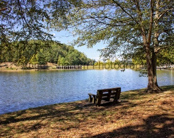 Bench by the Lake Digital Photo-Digital Download, Photography, Lake-Bench-Water