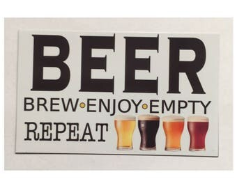 Beer Brew Enjoy Repeat Bar Room Sign Wall Hanging