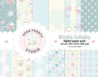 Digital Paper pack, Pastel Baby Birdie lullaby, Pattern, Cardstock, Scrapbook Paper, Digital