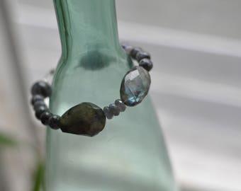 Labradorite bracelet with silver clasp