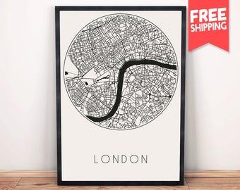 London map, London print, London art, City maps, City map print, London decor, United kingdom, Maps as art