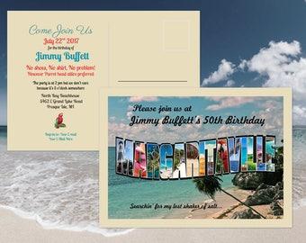 Margaritaville Birthday Party Invitation Postcard