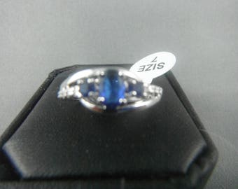 10 K White Gold Plated Blue Lab Sapphire Size 7 Women Ring
