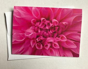 Pink Dahlia blank greeting card