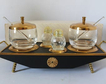 Mid Century Modern Matte Black and Brass Footed Condiment Tray