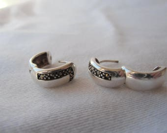 Small Sterling Silver Vintage Hinged Huggie Earrings With Marcasite Stones