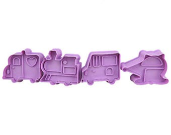 4pcs/Set Transportation 3D Cookie Stamp Cutters - Fondant Biscuit Mold - Pastry Baking Tool Set