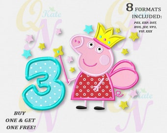BOGO FREE! Peppa Pig Third birthday applique embroidery design, Peppa Pig Machine Embroidery Designs, Embroidery designs baby, #049