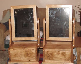 Burr Oak dressing table mirror with drawer