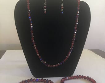 Red and Blue necklace earrings bracelet