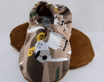 "5.5"" Soft-Soled Baby Shoes - Mountain Goats - Adjustable Ankles - Non-Slip Soles"