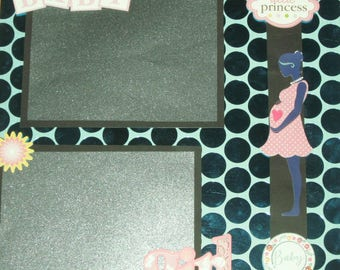 Premade Scrapbook Page 12x12 – LITTLE PRINCESS Baby Girl Expectant Mommy