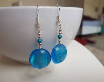 Handcrafted glass pearl earrings