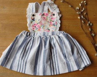 Toddler Pinafore Dress, Toddler vintage dress, 12mths,18 mths,2t,3t,4t,5t
