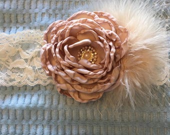 Toddler / Child Lace and Floral Headband