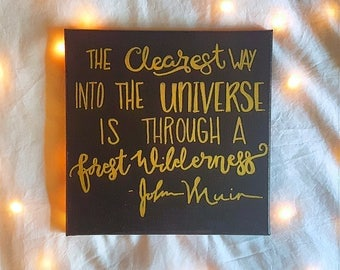 The Way into the Universe 12x12 canvas hand painted black and gold
