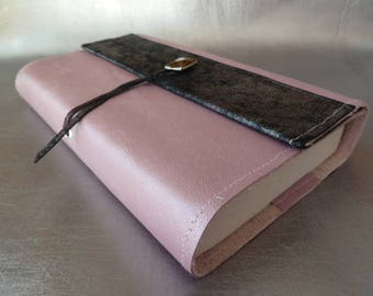 Height 18 cm book, book adaptable pink cowhide leather powder headpiece in gray and pink kid