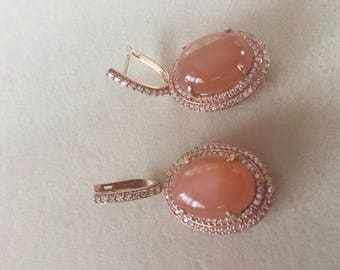 Silver gold plated peach moonstone and cz