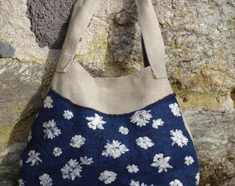 linen and embroidered tulle felted bag
