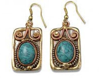 Turquoise Earrings, Copper Brass Earrings, Nickel Free Earrings, Handmade, Boho Chic