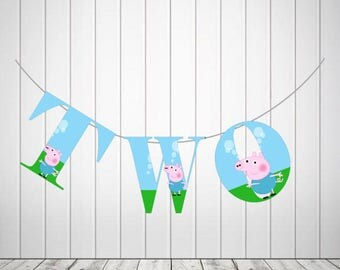 Peppa Pig Age two bunting digital file+ FREE peppa pig cup cake toppers printable, PEPPA PIG Party supplies